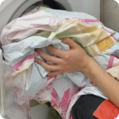 館内で、気軽にお洗濯